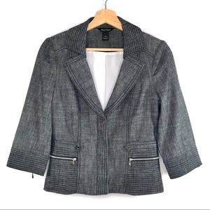 WHBM grey/black heathered moto fitted blazer lined
